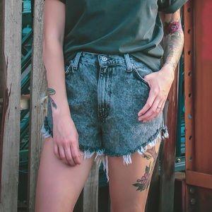Vintage Acid Wash Cutoff Denim Shorts